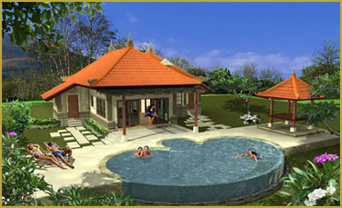 3d reconstruction of the 1-bedroom villa and swimming pool
